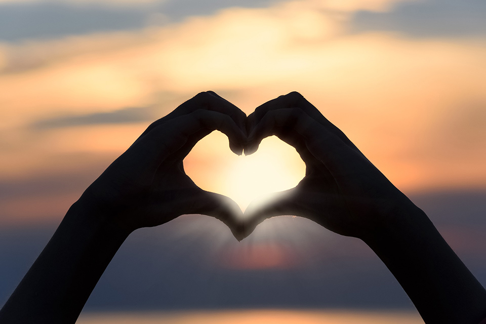 Hands heart mindfulness